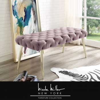 Claude Velvet Button Tufted Rectangular Bench