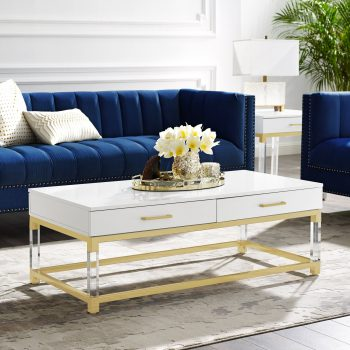 Casandra Coffee Table | Crafted from durable eco-friendly MDF with in a sleek high gloss finish, acrylic legs, stainless steel metal frame