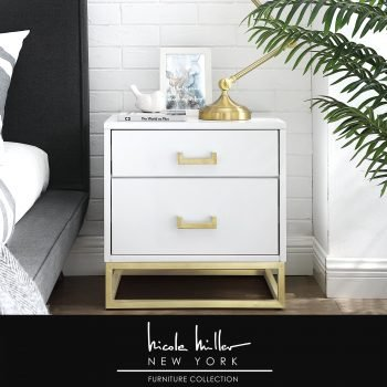 Emiliana Side Table/Accent Table/Nightstand | Crafted from MDF in a sleek high gloss finish