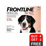 Budget Pet Care | Frontline Top Spot | Extra Large Dogs 89-132lbs (Red) – Clearance Sale | Frontline Top Spot is a topical spot-on treatment that treats and prevents flea infestation, brown dog tick, American dog tick, lone star tick, deer ticks and chewing lice on dogs and puppies.
