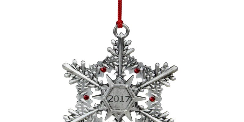 Unbeatable Sale | Avon 33537604 3 in. Snowflake with Gems 2017 Hanging Christmas Ornament – Silver & Red
