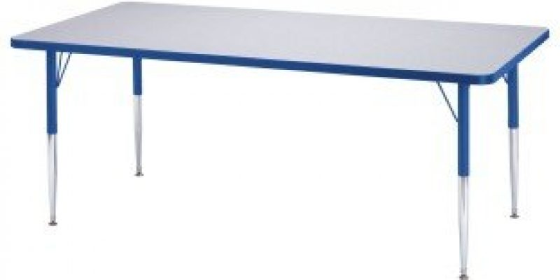 S&S Worldwide | Rainbow Accents? Rectangle Table, 30″ x 60″ x 24-31″H | Laminate tabletops are 1-1/8″ thick
