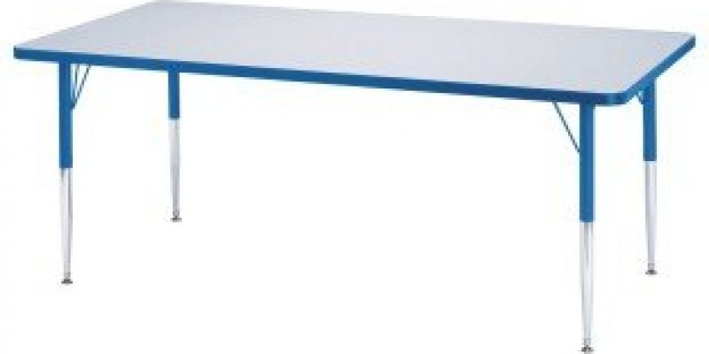 S&S Worldwide | Rainbow Accents? 30″ x 72″ Rectangle Table, 15-24″H | Laminate tabletops are 1-1/8″ thick.