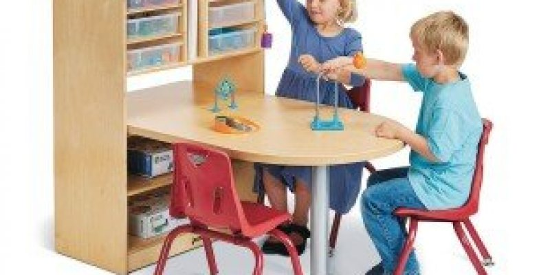 S&S Worldwide | Jonti-Craft? Baltic Birch STEM/MakerSpace Table with Adjustable Storage and 6 Plastic Trays | Peninsula table encourages collaborative learning