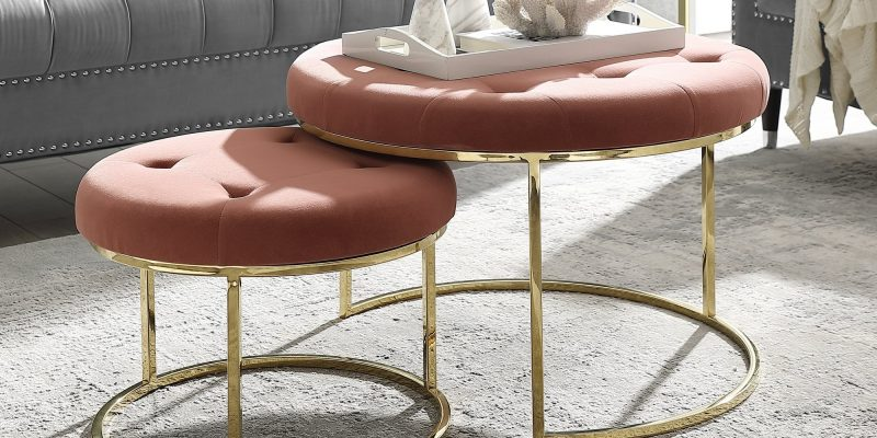 Inspired Home | Carlotta Cocktail Coffee Table Ottoman, Set of 2