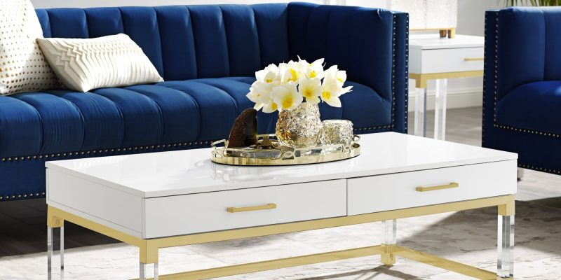 Inspired Home | Casandra Coffee Table | Crafted from durable eco-friendly MDF with in a sleek high gloss finish, acrylic legs, stainless steel metal frame
