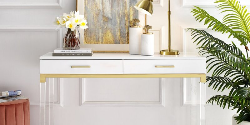 Inspired Home | Casandra Console Table | Crafted from durable eco-friendly MDF with in a sleek high gloss finish, acrylic legs, stainless steel metal frame with matching handles