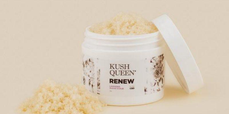 Kush Queen | Renew CBD Sugar Scrub | The organic sugar base, CBD and jojoba oil work together to remove dead skin, clean pores and moisturize.